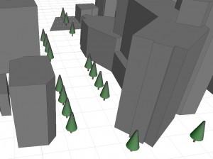 樹木モデルの配置