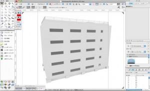 Vectorworksで作成した建築モデル