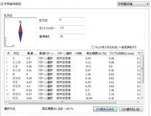 外気風評価ランク設定画面