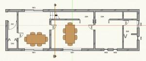 デザインレイヤ「床-1」での断面線オブジェクト